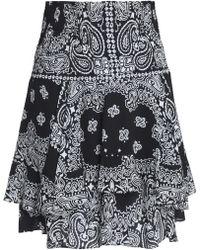 A.L.C. - Printed Smocked Silk-crepe Mini Skirt - Lyst