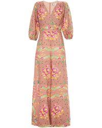 Paul & Joe Wrap-effect Floral-print Linen Wide-leg Jumpsuit Antique Rose - Pink