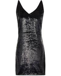 J Brand Metallic Fil Coupé Velvet Mini Dress - Black