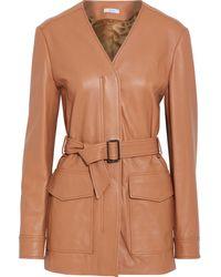 Iris & Ink Brigitte Belted Leather Jacket - Multicolour