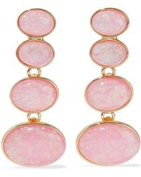 Kenneth Jay Lane - Gold-tone Stone Clip Earrings Baby Pink - Lyst