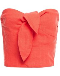 Mara Hoffman Nan Strapless Cropped Linen-twill Top Tomato Red