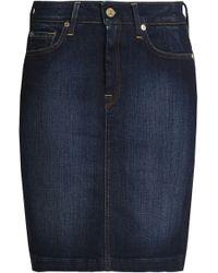7 For All Mankind - Denim Mini Skirt Dark Denim - Lyst