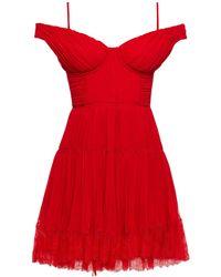 Self-Portrait Cold-shoulder Gathered Chiffon Mini Dress