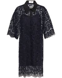 Victoria, Victoria Beckham Guipure Lace Dress Midnight Blue