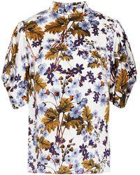 Erdem - Omara Gathered Floral-print Silk-satin Top - Lyst