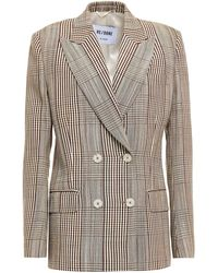 RE/DONE 70s Double-breasted Prince Of Wales Checked Woven Blazer - Natural