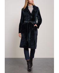 Yves Salomon Lacon Reversible Shearling Coat Midnight Blue