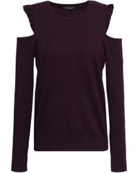 DKNY Ruffle-trimmed Cold-shoulder Knitted Sweater Dark Purple