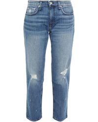 Rag & Bone Dre halbhohe cropped boyfriend-jeans in distressed-optik - Blau