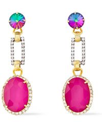Elizabeth Cole 24-karat Gold-plated, Silver-tone And Crystal Earrings Pink