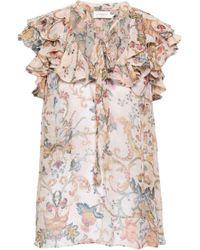 Zimmermann Ruffled Floral-print Silk-georgette Top Peach - Multicolour