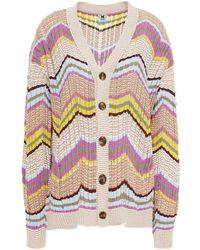 M Missoni Crochet-knit Cotton-blend Cardigan - Multicolour
