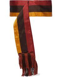 Etro Fringed Striped Satin-twill Waist Belt - Multicolour