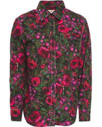Marni Hemd aus baumwollpopeline mit floralem print - Grün