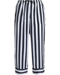 DKNY - Cropped Striped Crepe Pajama Pants - Lyst