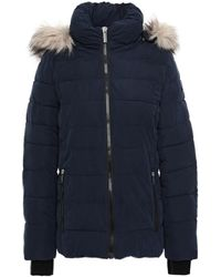 DKNY Faux Fur-trimmed Quilted Sateen Hooded Down Coat Navy - Blue