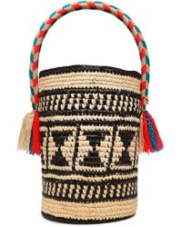 Yosuzi Chika Tasseled Woven Straw Bucket Bag Black