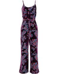 Saloni Loretta Belted Devoré-velvet Jumpsuit Plum - Purple