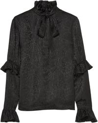 Saint Laurent Pussy-bow Ruffled Silk-satin Jacquard Blouse Black