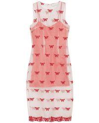 Fleur du Mal Embroidered Silk-blend Organza Midi Dress - Pink