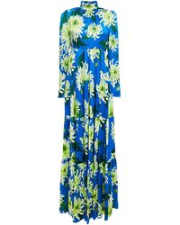 Andrew Gn Gathered Floral-print Silk-satin Maxi Dress - Blue
