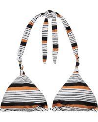 ViX - Ava Paula Knotted Striped Triangle Bikini Top - Lyst