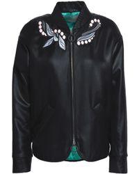 Marco De Vincenzo Embroidered Foulard Bomber Jacket - Black