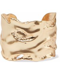 Kenneth Jay Lane Hammered Gold-tone Cuff Gold - Metallic