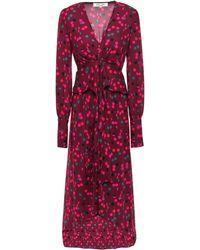 Diane von Furstenberg Asymmetric Gathered Printed Crepe Dress Burgundy