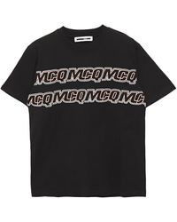 McQ Embroidered Cotton-jersey T-shirt Black