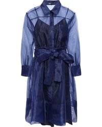 Maje Belted Organza Mini Shirt Dress Navy - Blue