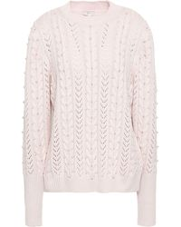 Joie Embellished Pointelle And Cable-knit Sweater Pastel Pink