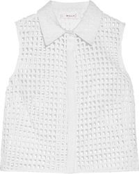 MILLY Cropped Broderie Anglaise Cotton-blend Shirt White