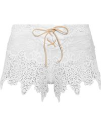 Eberjey - Castaway Lace-up Broderie Anglaise Cotton Shorts - Lyst