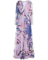 Emilio Pucci Printed Metallic Fil Coupé Silk-blend Chiffon Maxi Dress - Purple