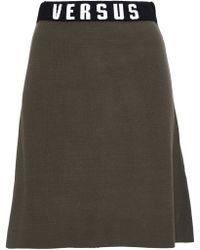 Versus - Jacquard Knit-trimmed Stretch-knit Mini Skirt - Lyst