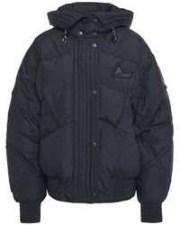 McQ Quilted Shell Down Hooded Jacket Black