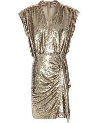 IRO Sagria Ruched Gathered Sequined Crepe Mini Dress - Metallic