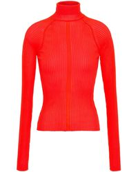 Acne Studios Neon Ribbed-knit Turtleneck Top Bright Orange - Multicolour