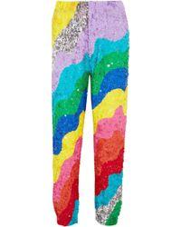 Mira Mikati - Sequined Silk Tapered Pants - Lyst