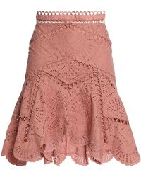 Zimmermann - Fluted Broderie Anglaise Cotton Skirt Antique Rose - Lyst