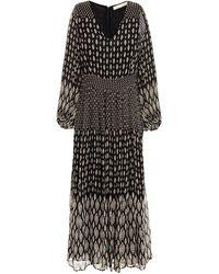 Vanessa Bruno Neroli Pleated Printed Crepe Midi Dress Black