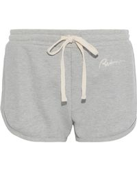 RE/DONE Embroidered French Cotton-terry Shorts Stone - Gray