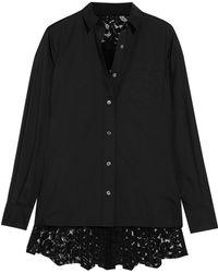 Sacai - Lace-paneled Poplin Shirt - Lyst