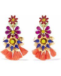 Elizabeth Cole - Woman 24-karat Gold-plated, Crystal And Tassel Earrings Multicolor - Lyst
