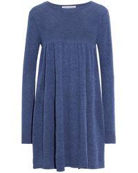 Autumn Cashmere Gathered Mélange Cashmere Mini Dress - Blue
