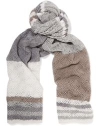 Magaschoni Striped Open-knit Cashmere Scarf - Gray