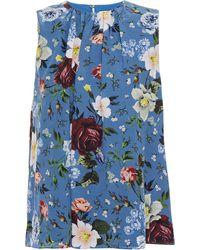 Erdem Warren Gathered Floral-print Silk Crepe De Chine Top Blue
