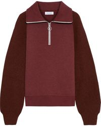 NAADAM Ribbed Knit-paneled Cotton And Cashmere-blend Fleece Sweatshirt - Red